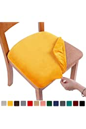 smiry Original Velvet Dining Chair Seat Covers, Stretch Fitted Dining Room Upholstered Chair Seat Cushion Cover, Removable Washable Furniture Protector Slipcovers with Ties - Set of 4, Mustard Yellow