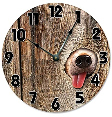 "Large 10.5"" Wall Clock Decorative Round Wall Clock Home Decor Novelty Clock DOG IN FENCE"
