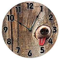 Large 10.5 Wall Clock Decorative Round Wall Clock Home Decor Novelty Clock DOG IN FENCE