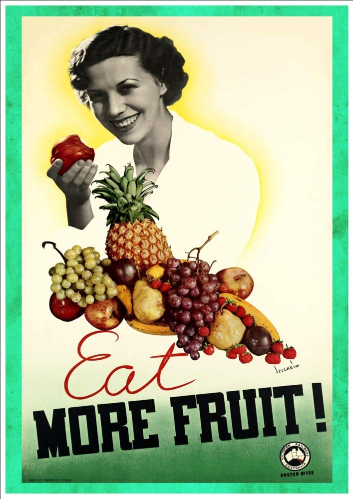 Eat More Fruit A Beautiful A4 Glossy Art Print Taken From a Vintage Product ad
