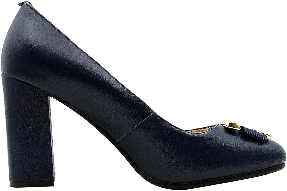 Verocara Women's Chunky Heel Ornament Decoration Genuine Leather Evening Dress Court Shoes Pumps B Navy Lea H