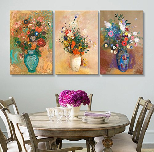Wall26 & 3 Panel World Famous Painting Reproduction Flowers in Vases by Odilon Redon x 3 Panels