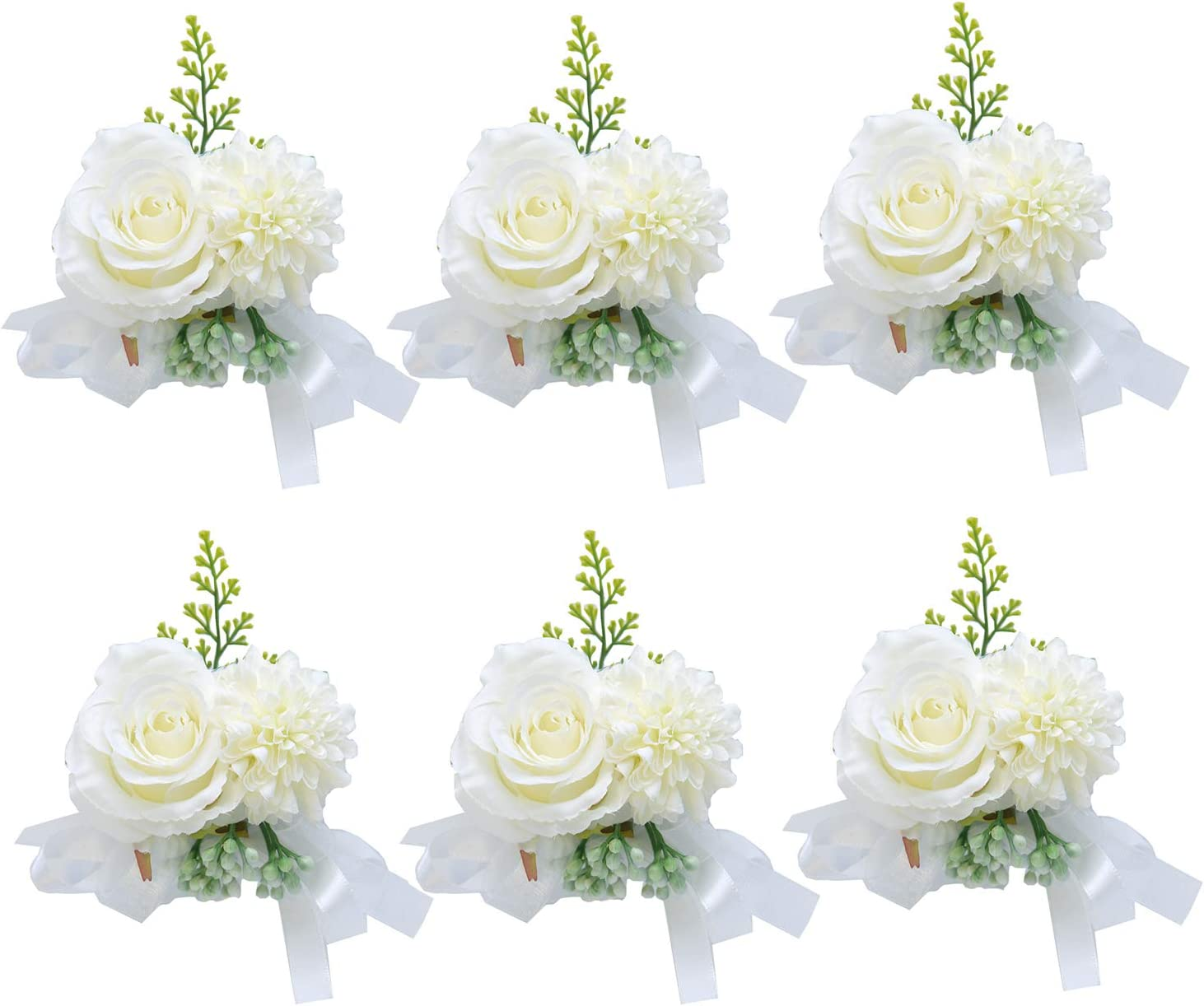 Pauwer Wedding Corsage Set of 6 Girl Bridesmaid Hand Flower