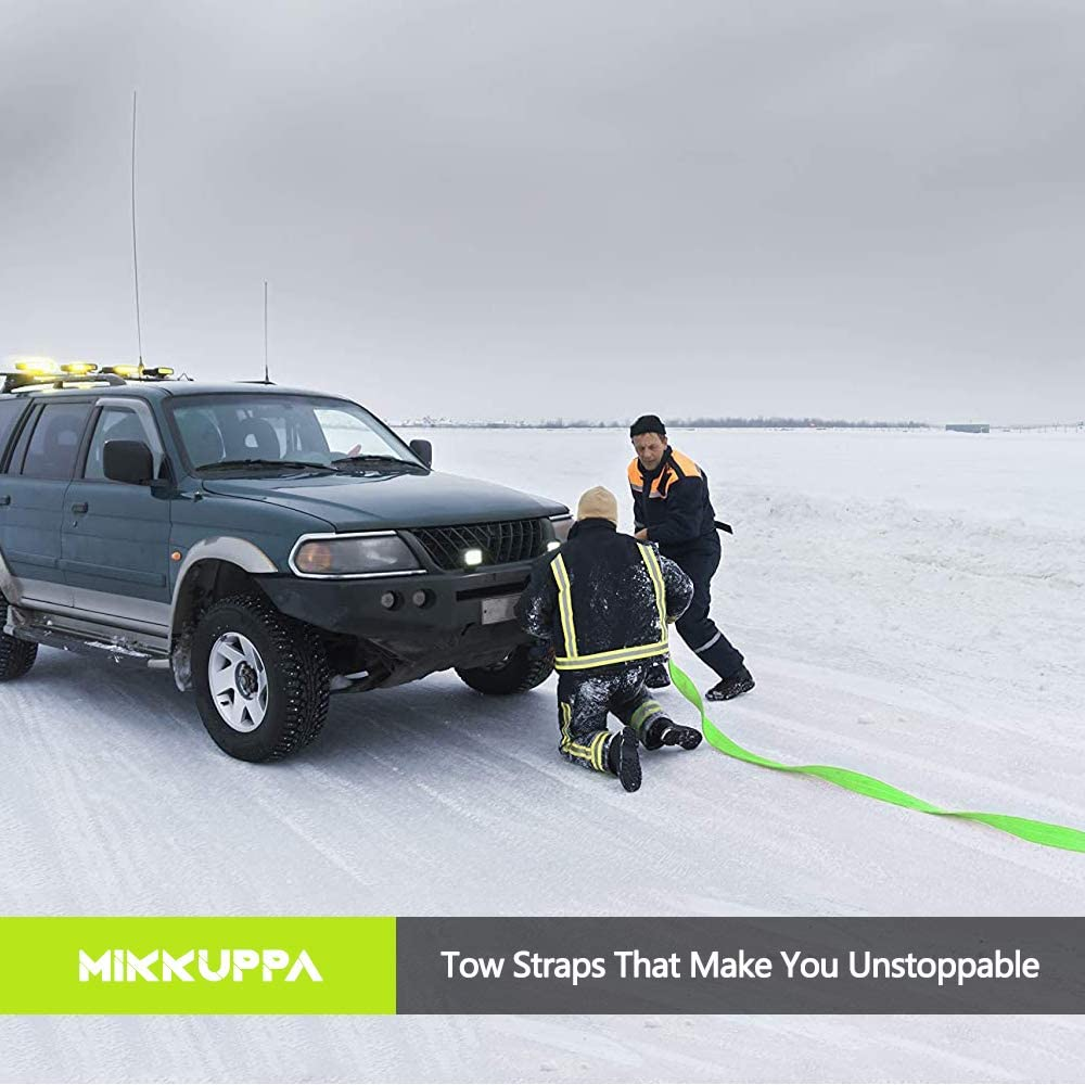 3 x 20ft Tow Strap Water-Resistant MIKKUPPA Recovery Tow Strap 35000lb Recover Your Vehicle Stuck in Mud//Snow//Sand Heavy Duty Nylon Recovery Strap