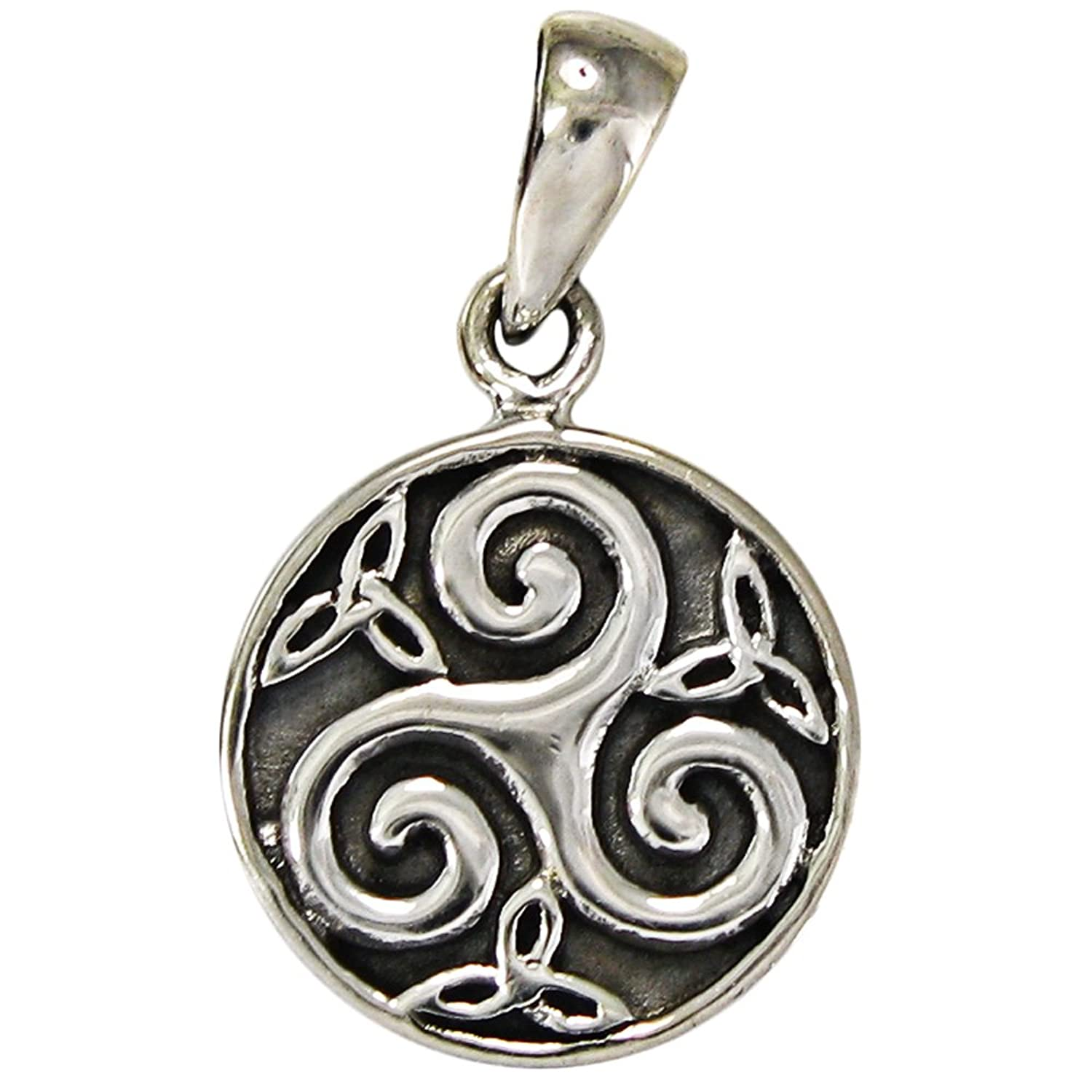 pendant celtic necklece wicca or triskelion triskele pin ceramic