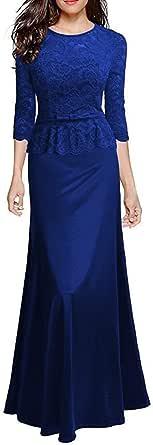Lovenjoy Women's Retro Floral Lace Evening Gown Slim Peplum Party Wedding Maxi Dress