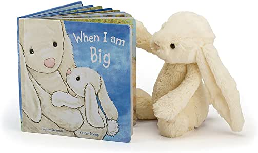 Jellycat When I Am Big Board Book and Bashful Cream Bunny, Medium - 12 inches
