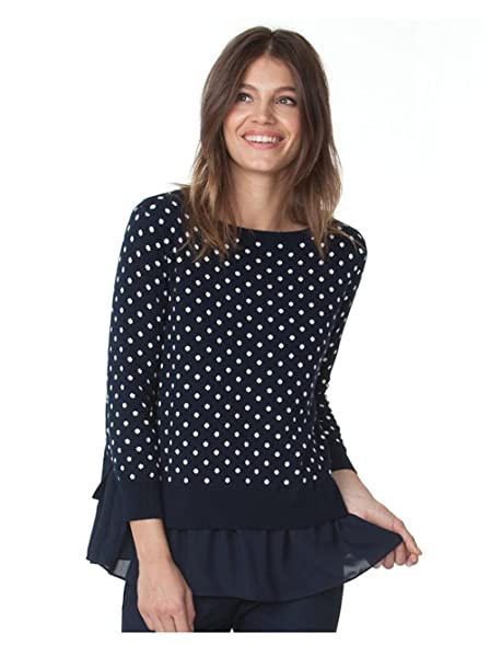 Amazon.com: Chaps Women's Petite Mock-Layer Polka-Dot Top, Capri ...