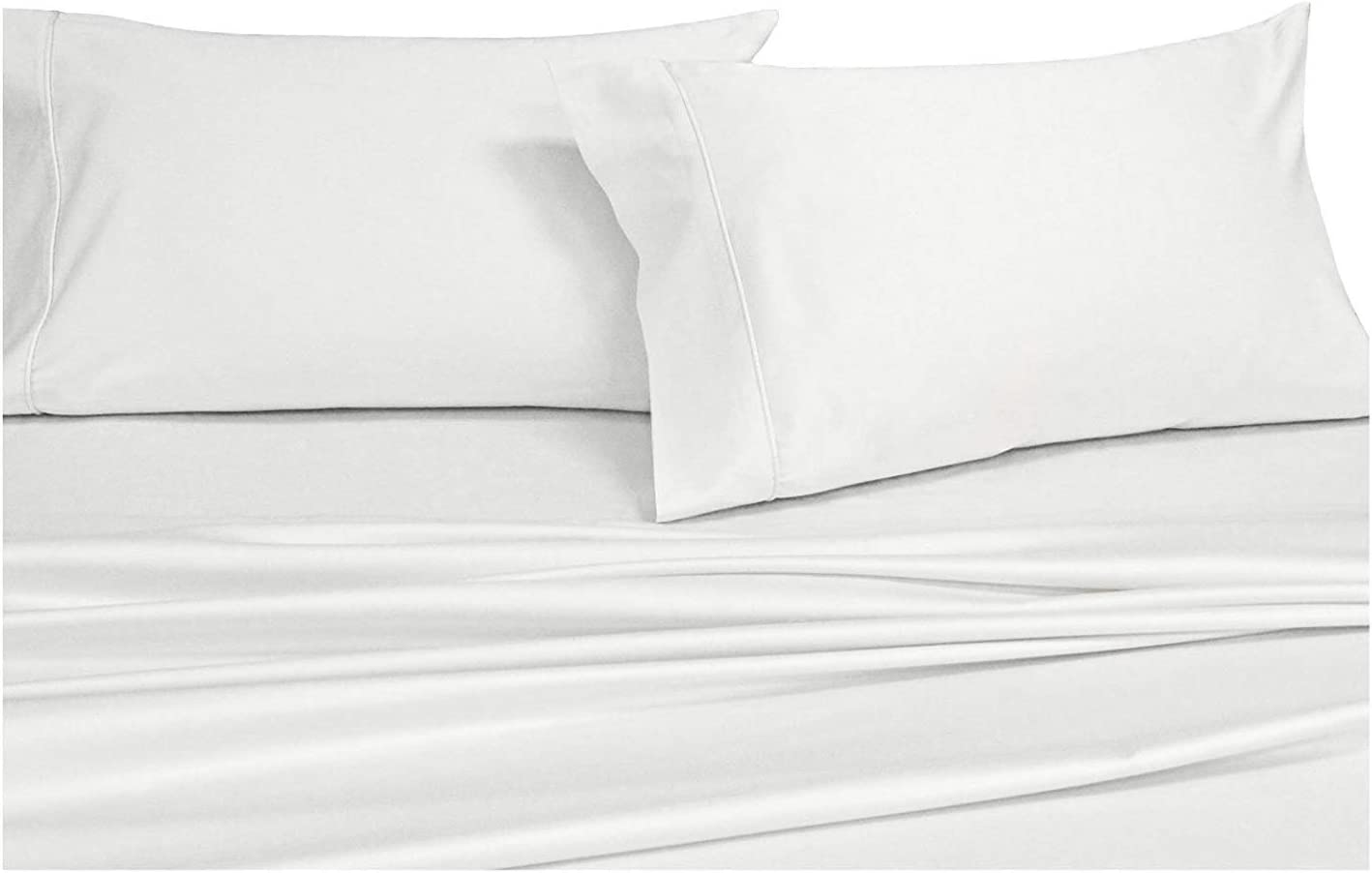 Royal Hotel Solid White 600-Thread-Count 3pc Twin-Extra-Long Bed Sheet Set 100% Cotton, Sateen Solid, Deep Pocket