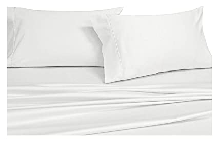 Top Split King: Adjustable King Bed Sheets 4PC Solid White 100% Cotton