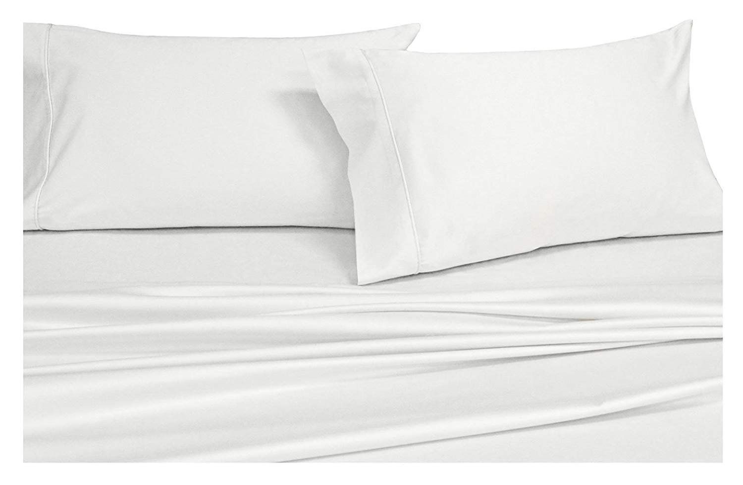 Royal Hotel's Solid White 600-Thread-Count 4pc California-King Bed Sheet Set 100-Percent Cotton, Sateen Solid, Deep Pocket