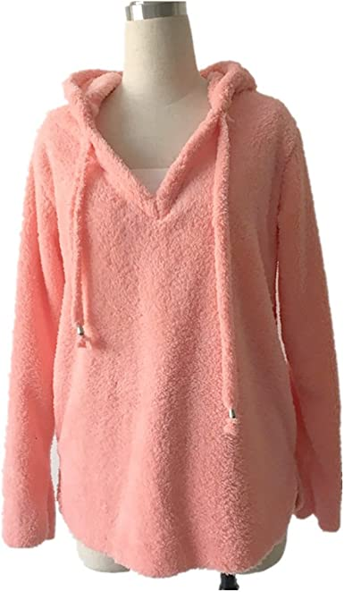 Academyus Womens Hoodie Sweater Casual Long Sleeve Pullover Fluffy Loose Sweater Tops