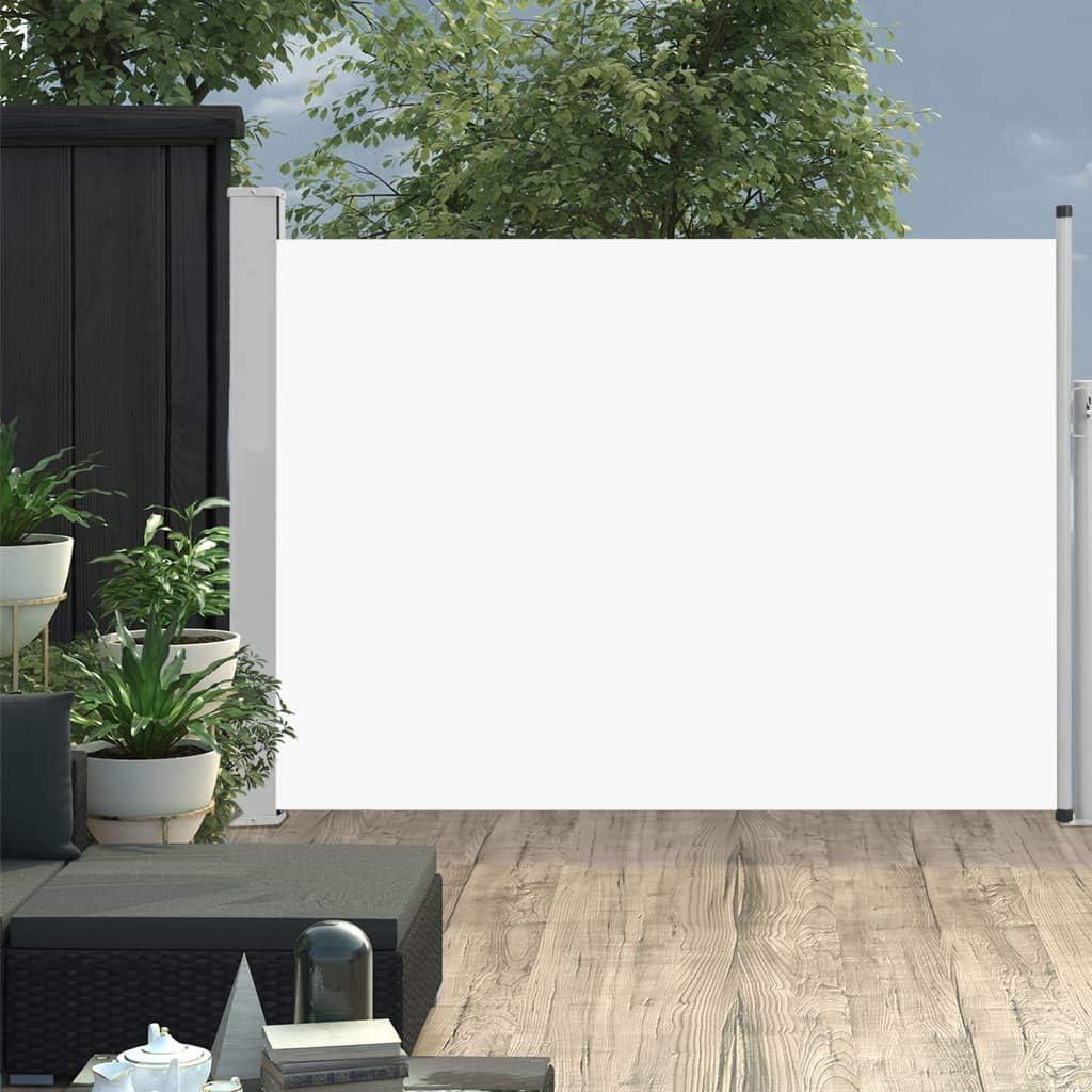 vidaXL Seitenmarkise Ausziehbar Sonnenschutz Sichtschutz Windschutz Seitenrollo Markise Seitenwandmarkise Balkon Garten Terrasse 100x500cm Creme
