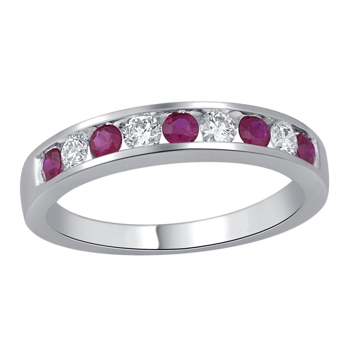 Jewel Ivy 14K White Gold Ring with Ruby and Diamond (I2-I3-G-H-I) Size US-6.5-6.75, Fine Jewelry, Best For Gifting Wife, Girlfriend, Friend