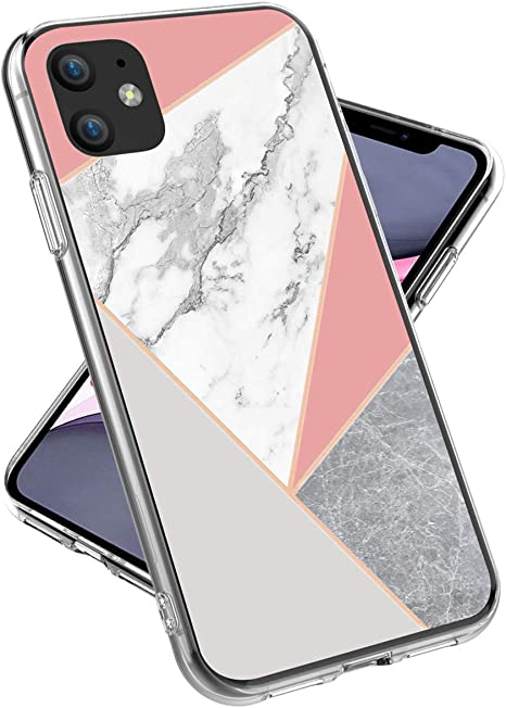 Amazon Com Iphone 11 Case Lovemecase Shiny Rose Gold Geometric Marble Design Clear Bumper Tpu Soft Rubber Silicone Protective Cover Phone Case For Iphone 11 6 1 Inch Grey Pink Marble