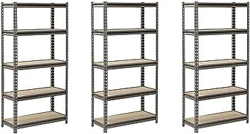 Muscle Rack UR301260PB5P-SV Silver Vein Steel Storage Rack 60 Height x 30 Width x 12 Depth Capacity 4000 lb Pack of 2 5 Adjustable Shelves