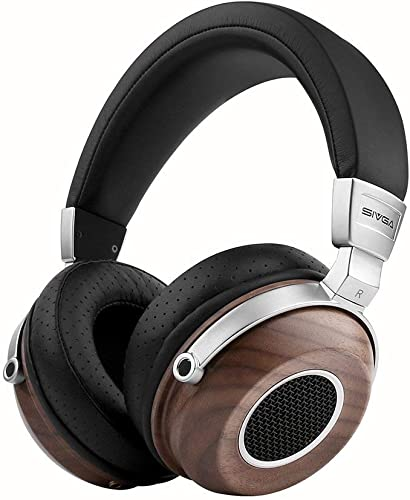 SIVGA SV004 Hi-Fi Wood Over-Ear Stereo Open Back Wired Headphones, Built-in Mic, Soft Earmuffs with Carrying Case Walnut