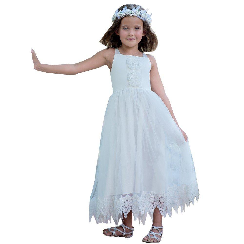 Think Pink Bows Little Girls White Halter Lace Francesca Flower Girl Dress 3