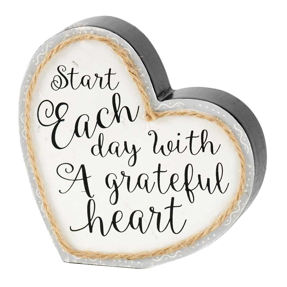 Start Each Day Grateful Heart Twine String Gray 4.5 x 5 Heart Shaped Wood Table Top Sign Plaque