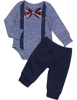 FUTERLY Newborn Baby Boys Clothes 3PCS Letter Prints Outfit Set New to The Crew Long Sleeve Bodysuit Romper Pants Little Man Hats 0-24Months