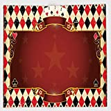 Cotton Microfiber Hand Towel,Poker Tournament Decorations,Casino Inspired Checkered Framework Stars Swirls Vintage Print Decorative,Multicolor,for Kids, Teens, and Adults,One Side Printing
