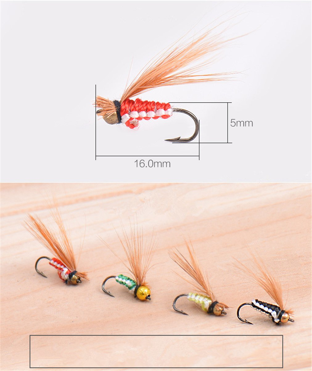 JasCherry 40pcs Fishing Lure Bionic Hooks High Simulation Flies Fish Bait Yellow Flies
