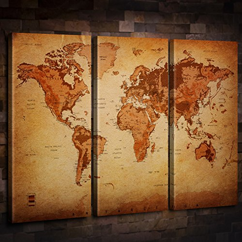 Vintage World Map Canvas Wall Art for Home Decor 3 Panel Large Map of the World Posters Prints Oil Painting Modern Artwork Altitude Leather Texture Style Maps Office Decorating Kitchen/Dining Room Vintage Look World Map