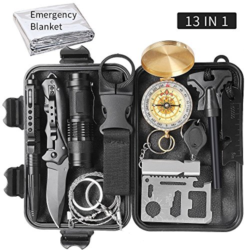 Sunba Youth Emergency Survival Kit 13 in 1, Outdoor Survival Gear Tool for Wilderness, Cars, Camping