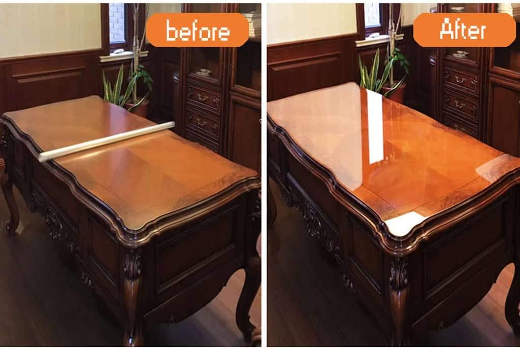 MO&SU Clear Furniture Protective Film, Oil-Proof Heat-Resistant Glossy Side Crystal Furniture Protector for Wooden Table Marble-Crystal film-120x100cm(47x39inch)