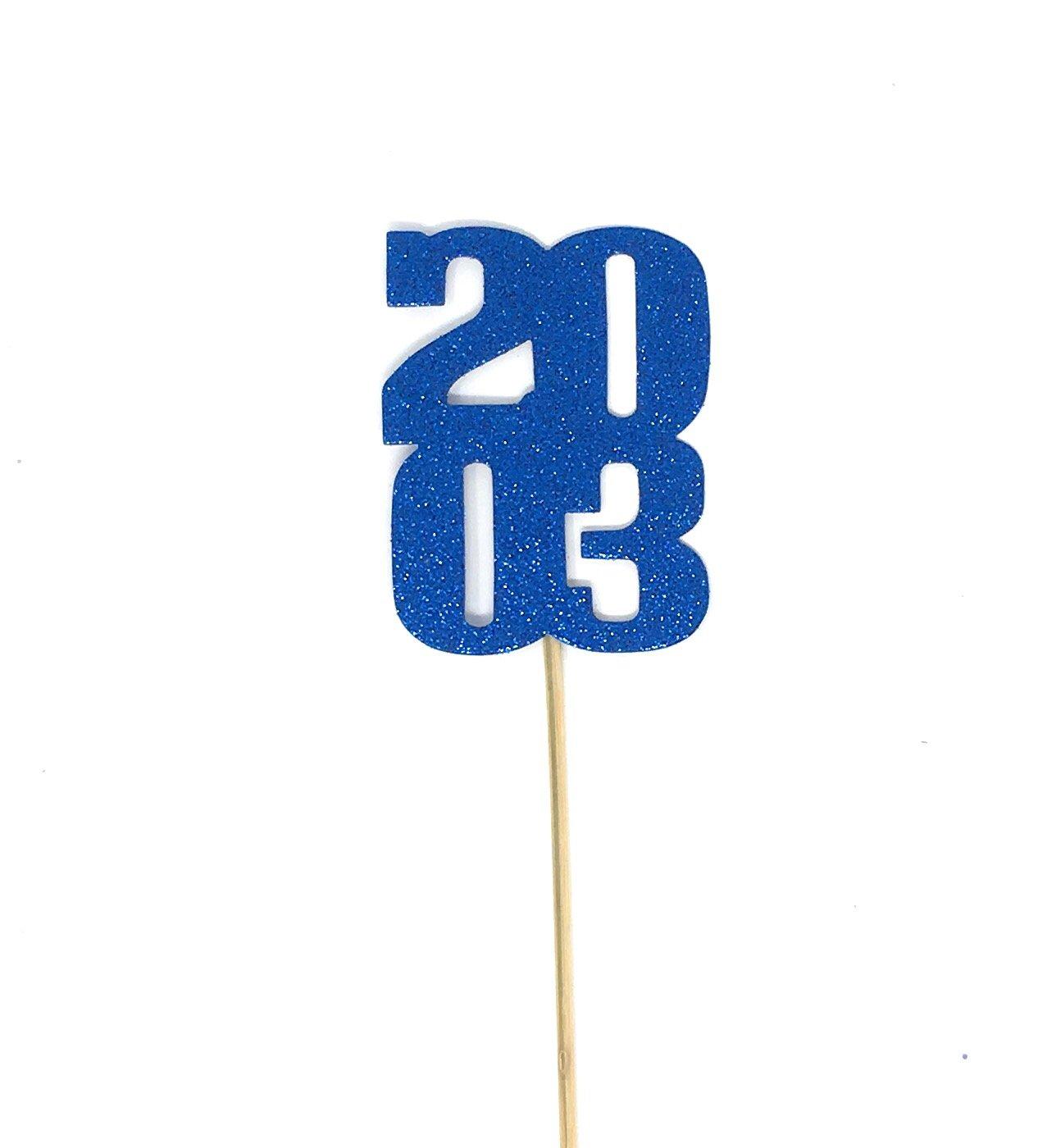 8 pack of Reunion Centerpiece Sticks for DIY Graduation Decor (2003, Blue)