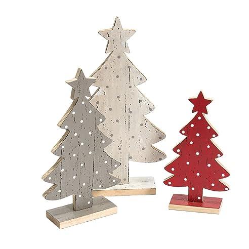 Amazon.De: Weihnachtsdeko Tannenbäume Holz Grau Rot Weiß 3Er Set
