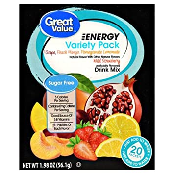 Great Value Sugar Free, Low Calorie 20 ct ENERGY Variety Pack Drink Mix by Great