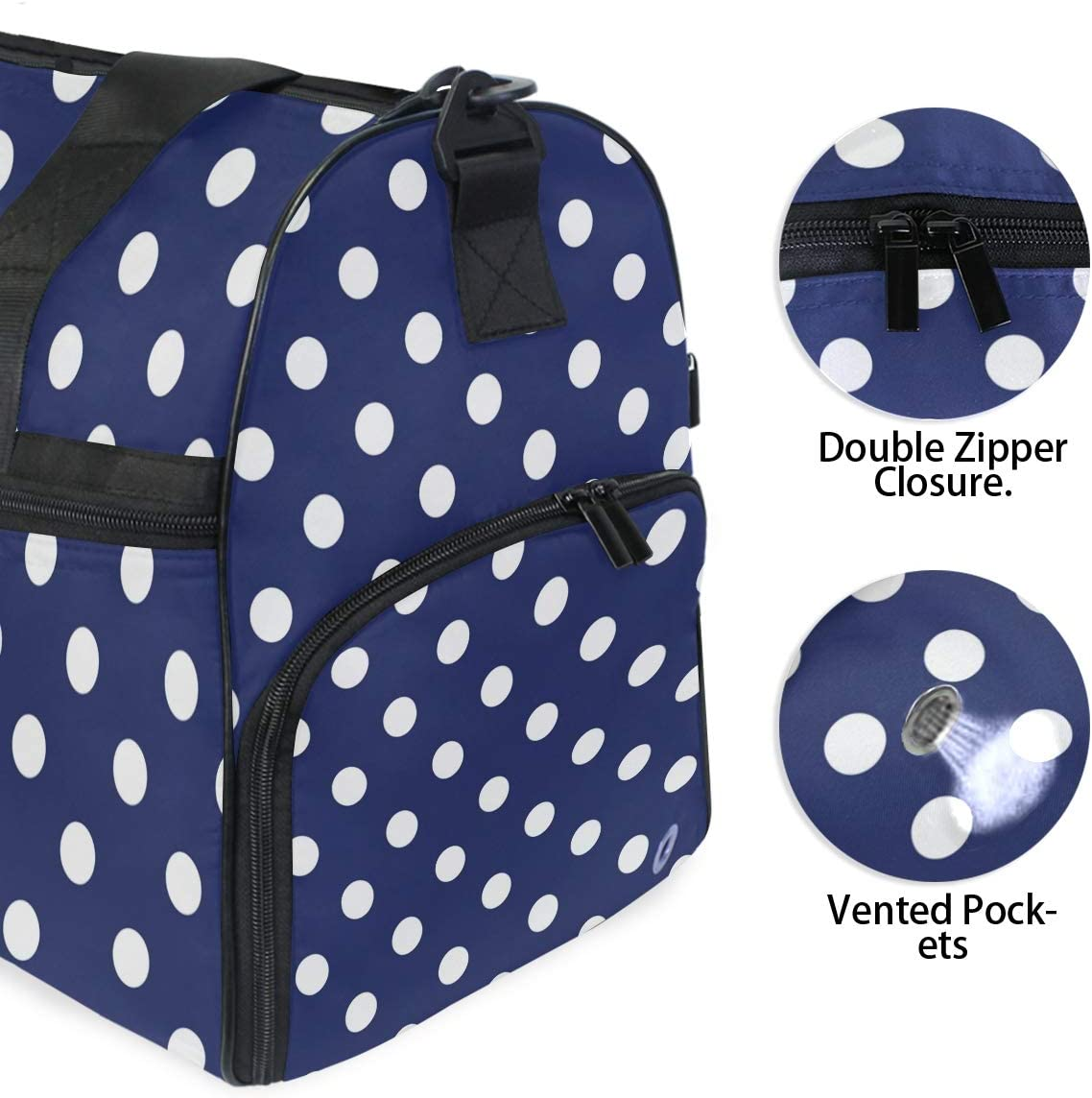 ALAZA Blue White Polka Dots Sports Gym Duffel Bag Travel Luggage Handbag Shoulder Bag with Shoes Compartment for Men Women
