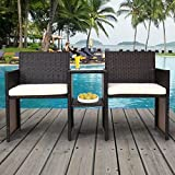 TANGKULA Outdoor Furniture Set Paito Conversation Set with Remoable Cushions & Table Wicker Modern Sofas for Garden Lawn Backyard Outdoor Chat Set (sofa style) Review