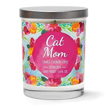 Vela aromática de Cera de Soja para Amantes de los Gatos, Color Naranja, jazmín