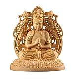 Suicazon [御金品] 高品質 両面彫刻 ツゲの木彫り 仏像 大日如来 開運 / 厄除け