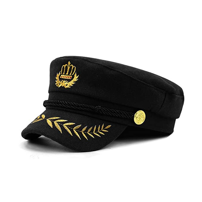 9d6b146bf839c Hyunong Navy Cap Warm Wool Captain Cap Full Sealing Wheat Ear ...