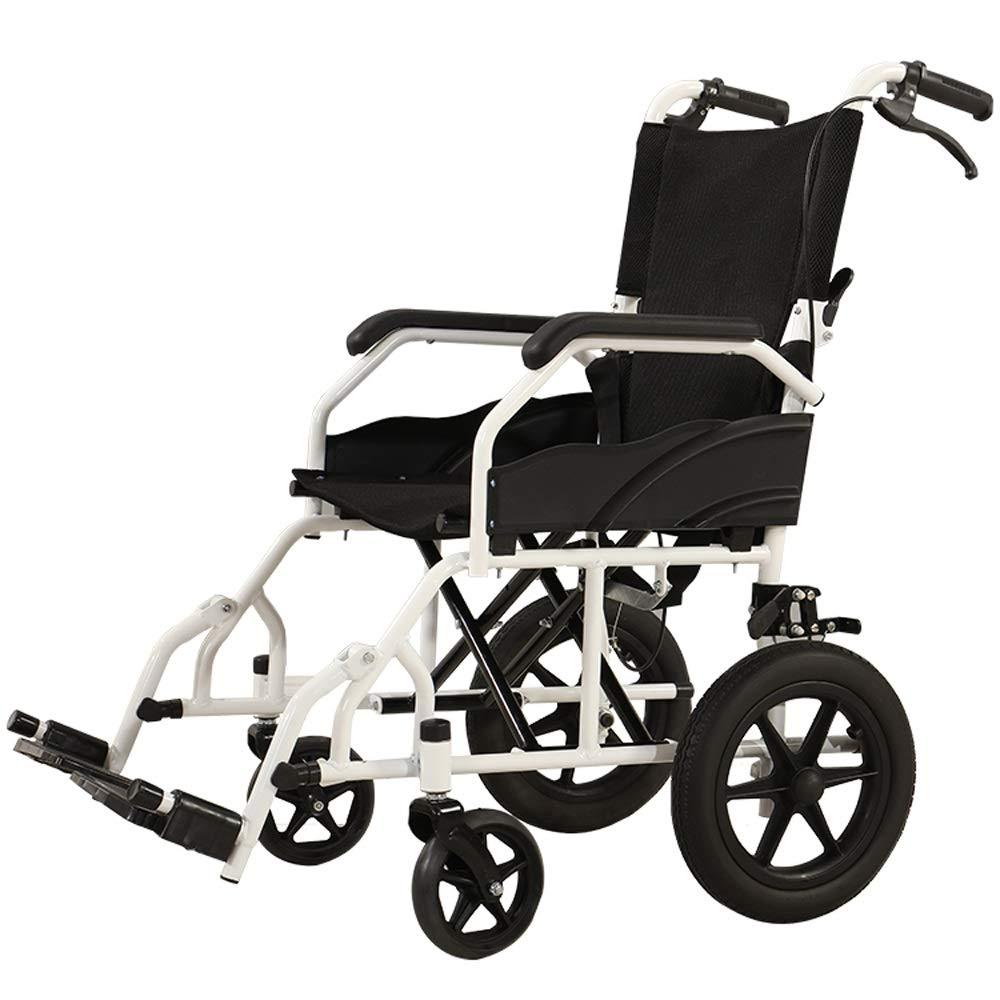 YANGLIYU Folding Self Propelled Wheelchair,Attendant-Propelled Wheelchair,Folding Transit Travel Wheelchair with Handbrakes,Black (Size : Small Wheel)