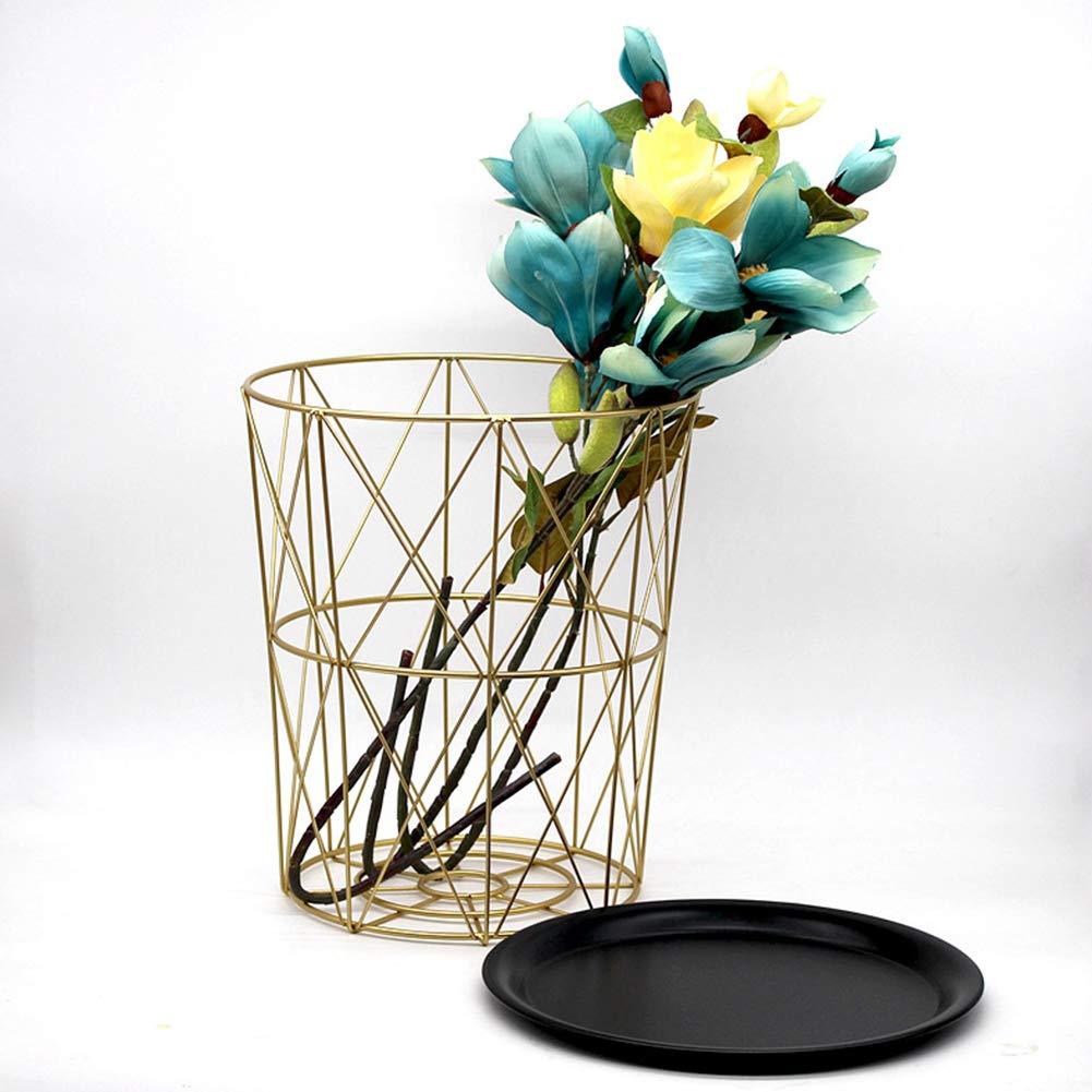 Meiyiu Nordic Golden Iron Metal Tea Table Dirty Storage Basket for Living Room Sofa Side black Medium