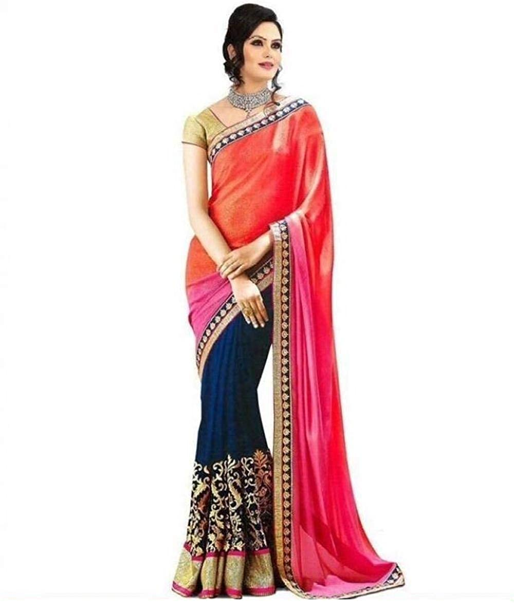 Florence Women's Multicolor Georgette Embroidered Saree With Un-Stitched Blouse