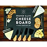 """Slate Cheese Board - 7 pc Serving Tray Set 16""""x12"""" Large - Stainless Steel Handles - Soapstone Chalk - 4 Cheese Knives - Foam Protective Feet by Proper Goods"""