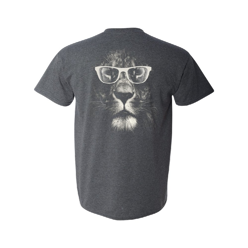 Hipster White Lion with Glasses Men's T-Shirt Fancy Fashion Animal Tee Dark Grey Heather X-Large