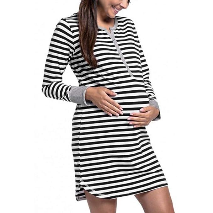 69ce37c0b Vestido de Maternidad de enfermería para Mujeres Vestido de Lactancia para  Embarazadas,Mujeres Vestido de Maternidad Raya Manga Larga Cuello Redondo  ...