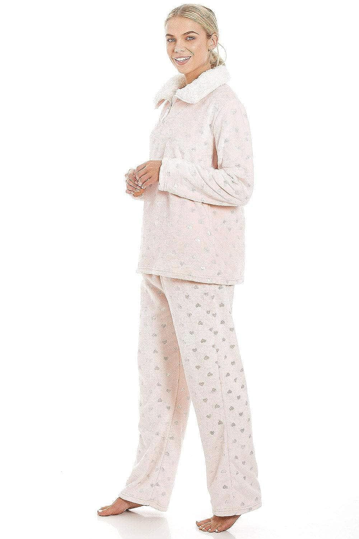 argent/é//Rose Ensemble de Pyjama en Polaire Ultra Douce col Montant Motifs c/œurs