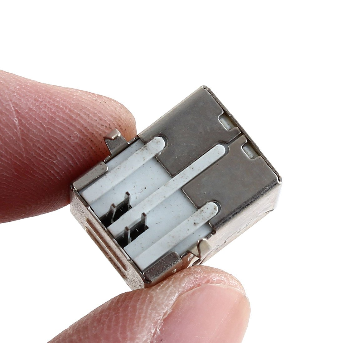 uxcell Shielded USB Type B Female Port 4 Pins PCB Mount Jack Connector Silver Tone by uxcell (Image #3)