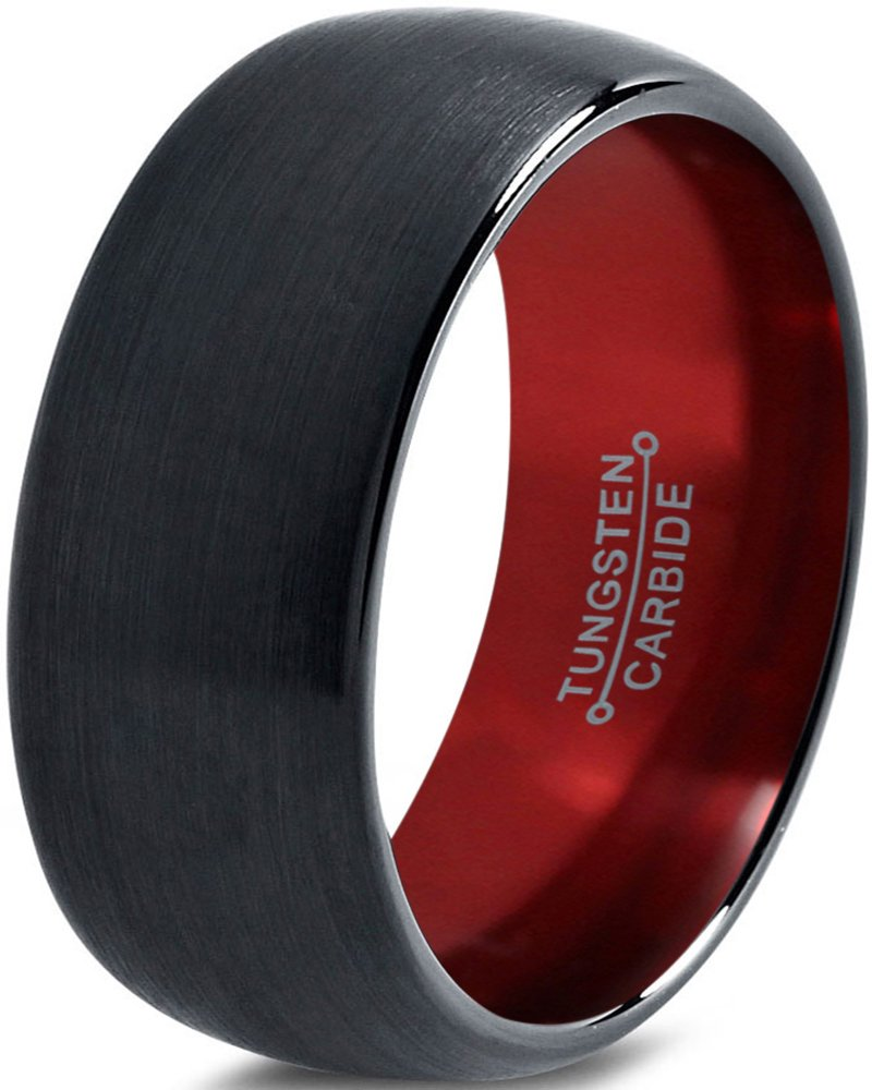 Tungsten Wedding Band Ring 10mm for Men Women Red Black Domed Brushed Polished Size 10.5