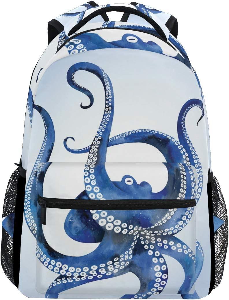 ALAZA Blue Marine Kraken Octopus Large Backpack Laptop iPad Tablet Travel School Bag w/Multiple Pockets for Men Women College