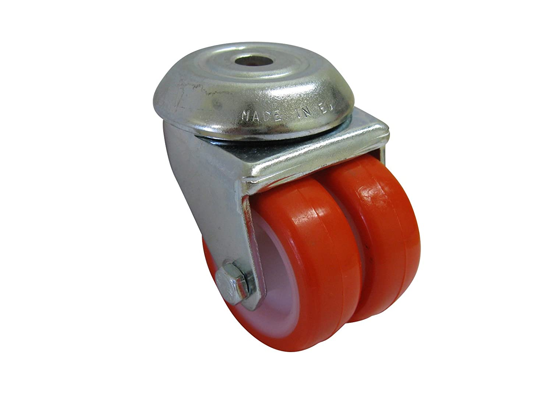 R/ückenlochbefestigung 10mm niedrige Bauh/öhe von 72mm spurfrei orangefarbende Schwerlast PU Doppelrolle /ø 50mm hohe Tragkraft von140Kg