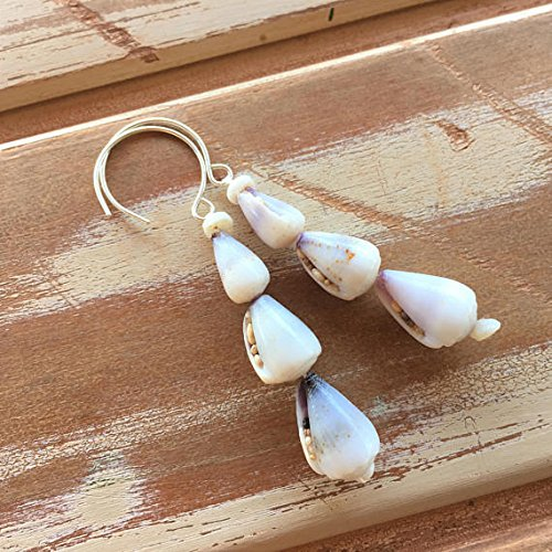 Tiny purple cone shell earrings with puka shells ()
