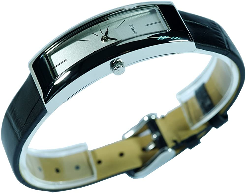 Watches for Women ZOMO Adore 3778 Women s Swiss Quartz Fashion Watches – Cool Watches for Women Super Slim Rectangle Designer Womens Watches with Silver dial and Black Leather Strap